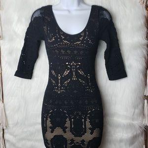 Bebe Black and Cream Lace Bandage Dress